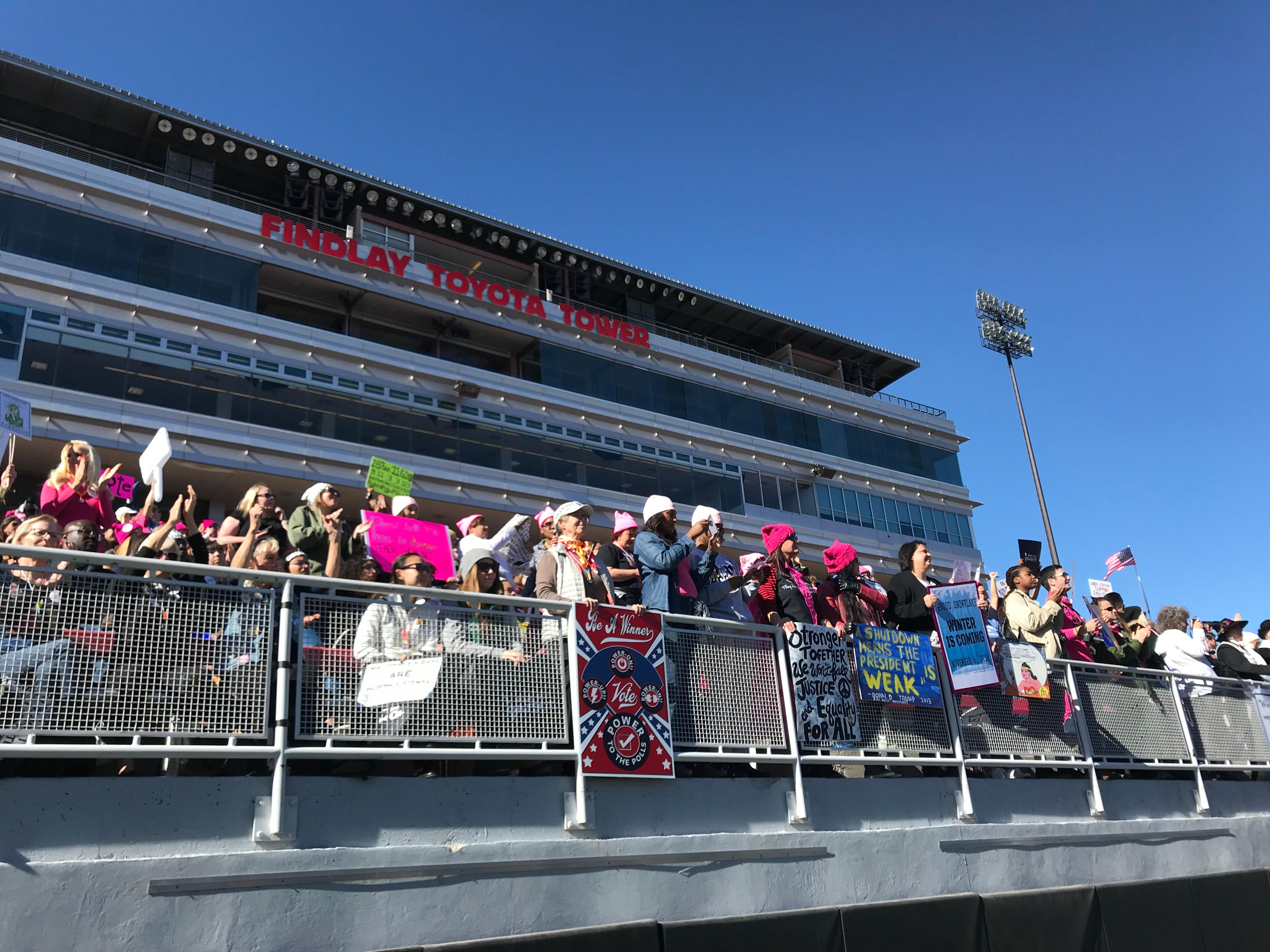 Attendees at the Women's Voter March Rally at Sam Boyd Stadium were encouraged to listen to speakers and performers on various issues, including immigration, sexual assault, gender and race equality at the Women's Voter March Rally at Sam Boyd Stadium on Sunday, Jan. 21, 2018. (Kundell Nunley | KSNV)<p></p>