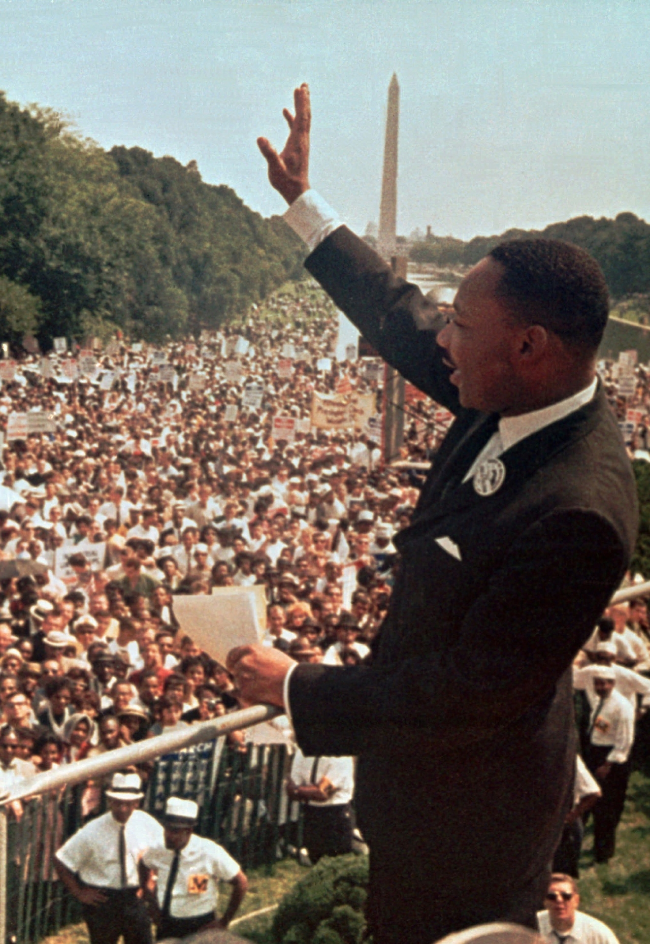 "The Rev. Martin Luther King Jr. acknowledges the crowd at the Lincoln Memorial for his ""I Have a Dream"" speech during the March on Washington, D.C.,  on Aug. 28, 1963.  The march was organized  to support proposed civil rights legislation and end segregation.  King founded the Southern Christian Leadership Conference in 1957, advocating nonviolent action against America's racial inequality.  Awarded the Nobel Peace Prize in 1964, King was assassinated in Memphis, Tenn., in 1968.   (AP Photo)"