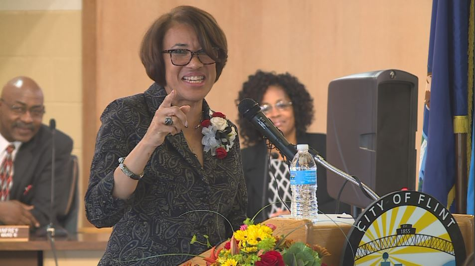 Flint Mayor Karen Weaver holds her second State of the City address at City Hall on Tuesday. (Photo Credit: Drew Moore/WSMH)<p></p>