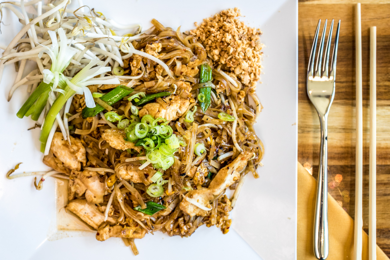 Noodles Thai Style (Pad Thai): stir fried rice noodles, roasted peanuts, egg, bean sprouts, and chopped green onion with chicken / Image: Catherine Viox // Published: 8.19.20
