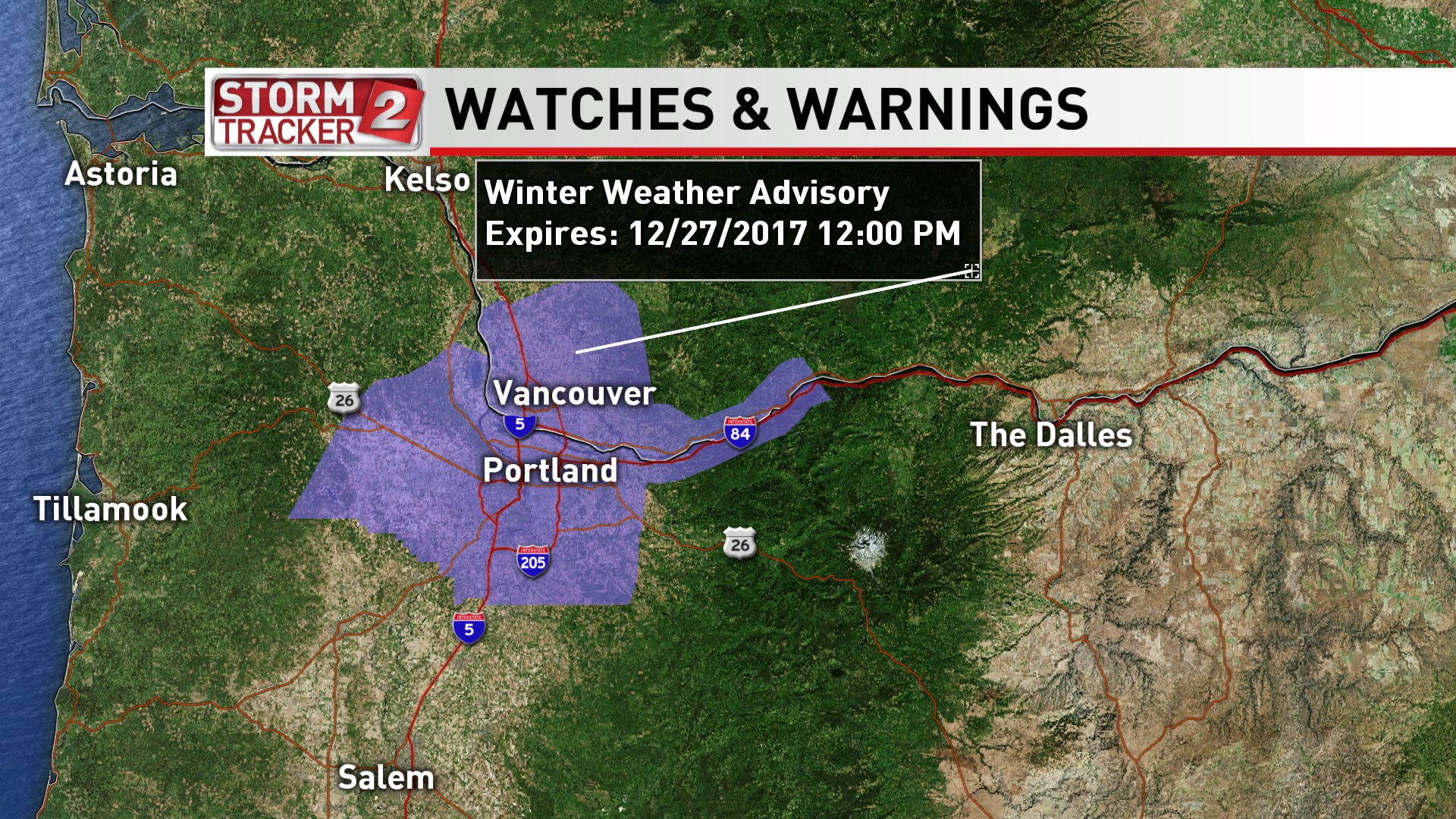 The National Weather Service expanded a Winter Weather Advisory on Tuesday night to include the Portland and Vancouver metro areas. (KATU Graphic)