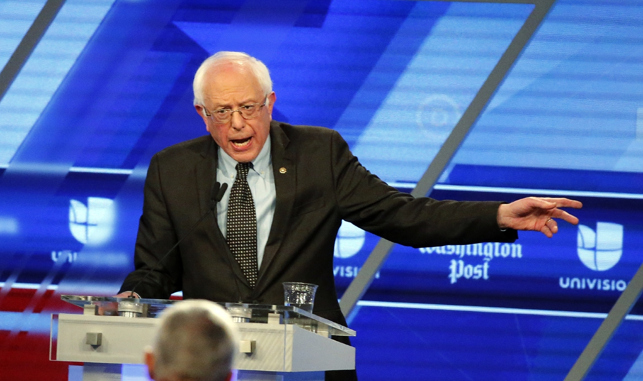 Democratic presidential candidate, Sen. Bernie Sanders, I-Vt, speaks at the Univision, Washington Post Democratic presidential debate at Miami-Dade College,  Wednesday, March 9, 2016, in Miami, Fla. (AP Photo/Wilfredo Lee)