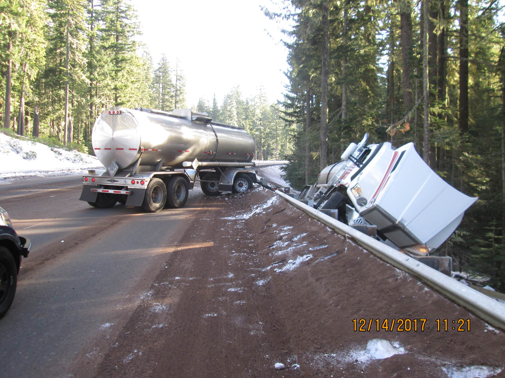 Drivers lost controlled and crashed on icy Highway 58 west of Odell Lake on Thursday morning, Oregon State Police said. (OSP)