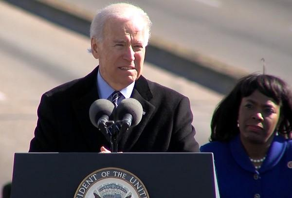 Vice President of the United States Joe Biden speaking at the Edmund Pettus Bridge Crossing Jubilee in Selma on Sunday, March 3, 2013.