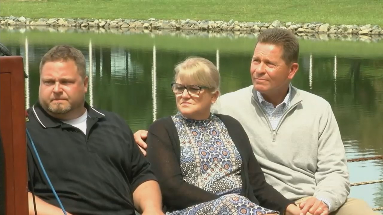 Tyler Tessier, Laura Wallen's boyfriend and accused murder suspect, sat with Wallen's parents during a press conference on Monday, September 11, 2017. (ABC7)