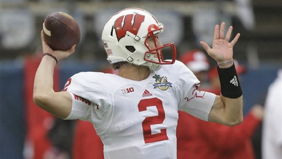 Wisconsin quarterback Joel Stave warms up before the Capital One Bowl NCAA college football game against South Carolina in Orlando, Fla., Wednesday, Jan. 1, 2014.(AP Photo/John Raoux)