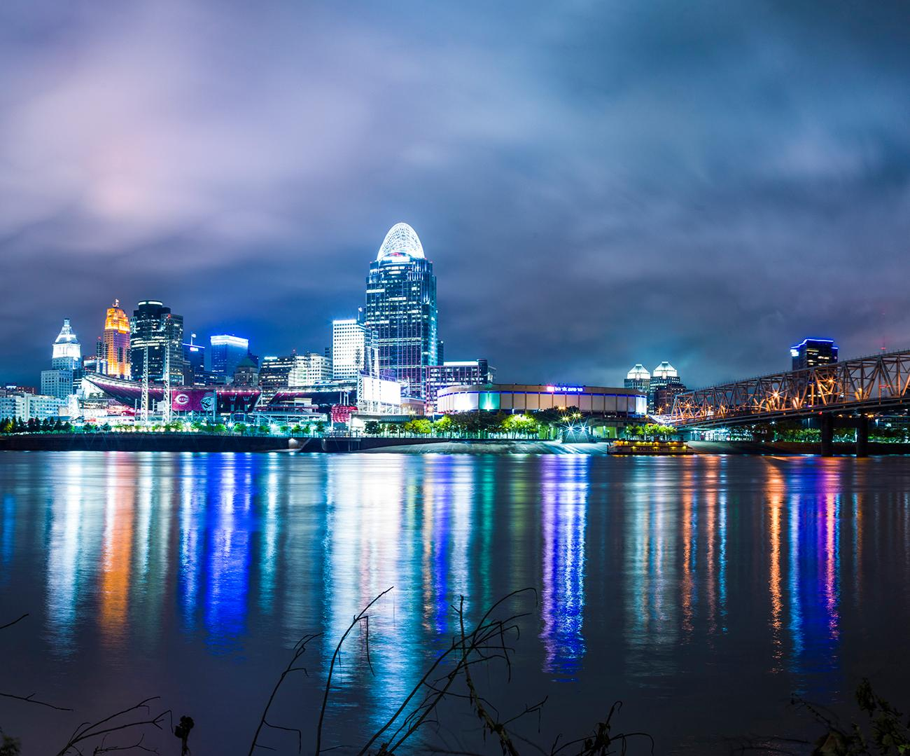 Closeup detail of a panoramic photo of Cincinnati looking north from Kentucky by Chris Ashwell from 2018. View the whole image by going to the Public Library downtown and seeing the Panorama of Progress exhibit. The exhibit runs until October 31. ADDRESS: 800 Vine Street (45202) / Image courtesy of the Public Library of Cincinnati // Published: 10.4.18