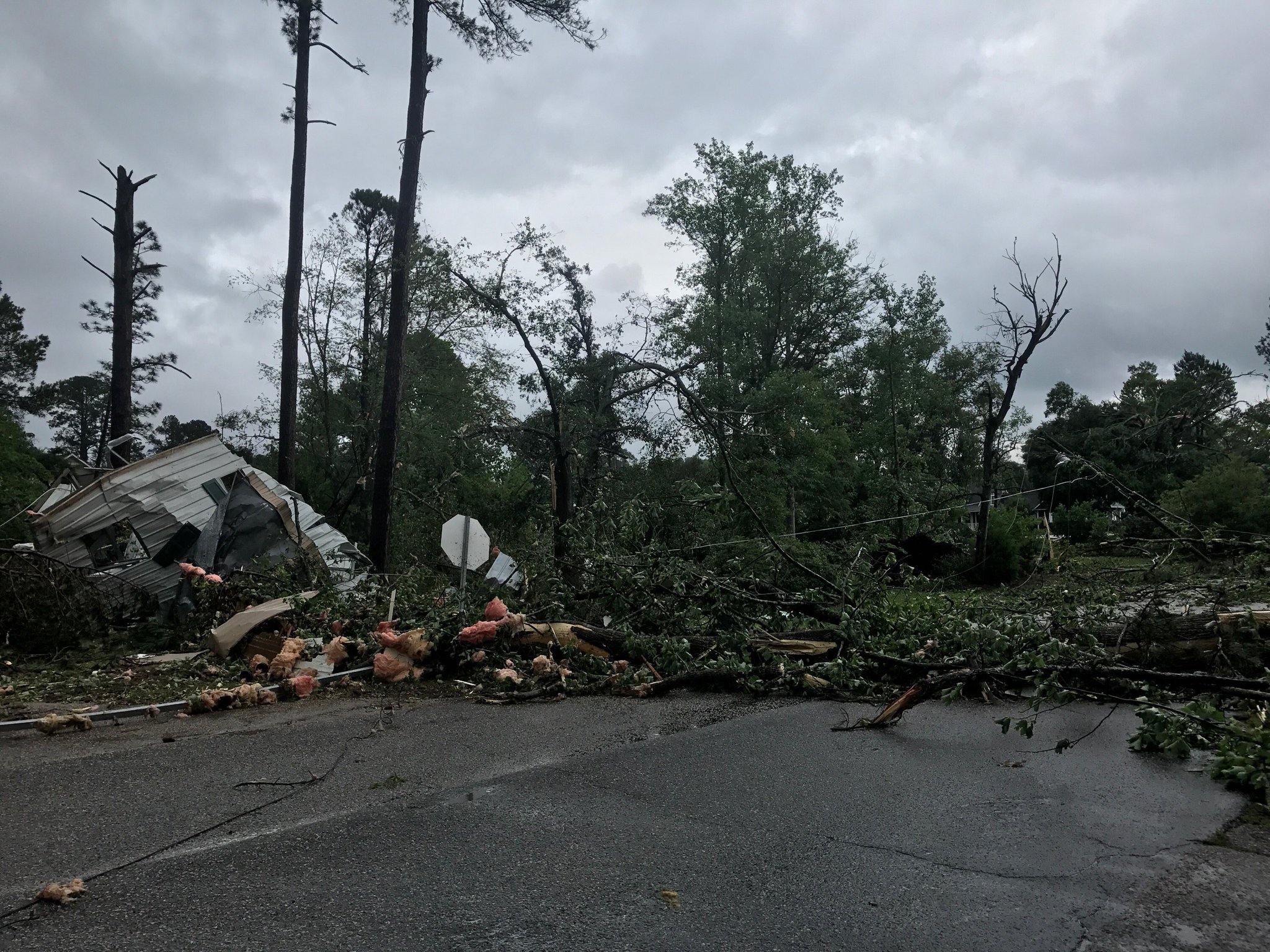 Tornado damage in Sampson County (WTVD photo)