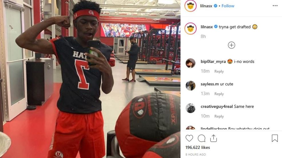 new style b0634 9452c Tryna get drafted': Lil Nas X sports University of Utah ...