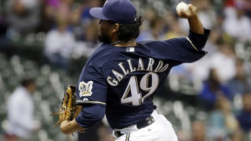 Milwaukee Brewers starting pitcher Yovani Gallardo throws during the first inning of a baseball game against the San Diego Padres on Tuesday, April 22, 2014, in Milwaukee. (AP Photo/Morry Gash)