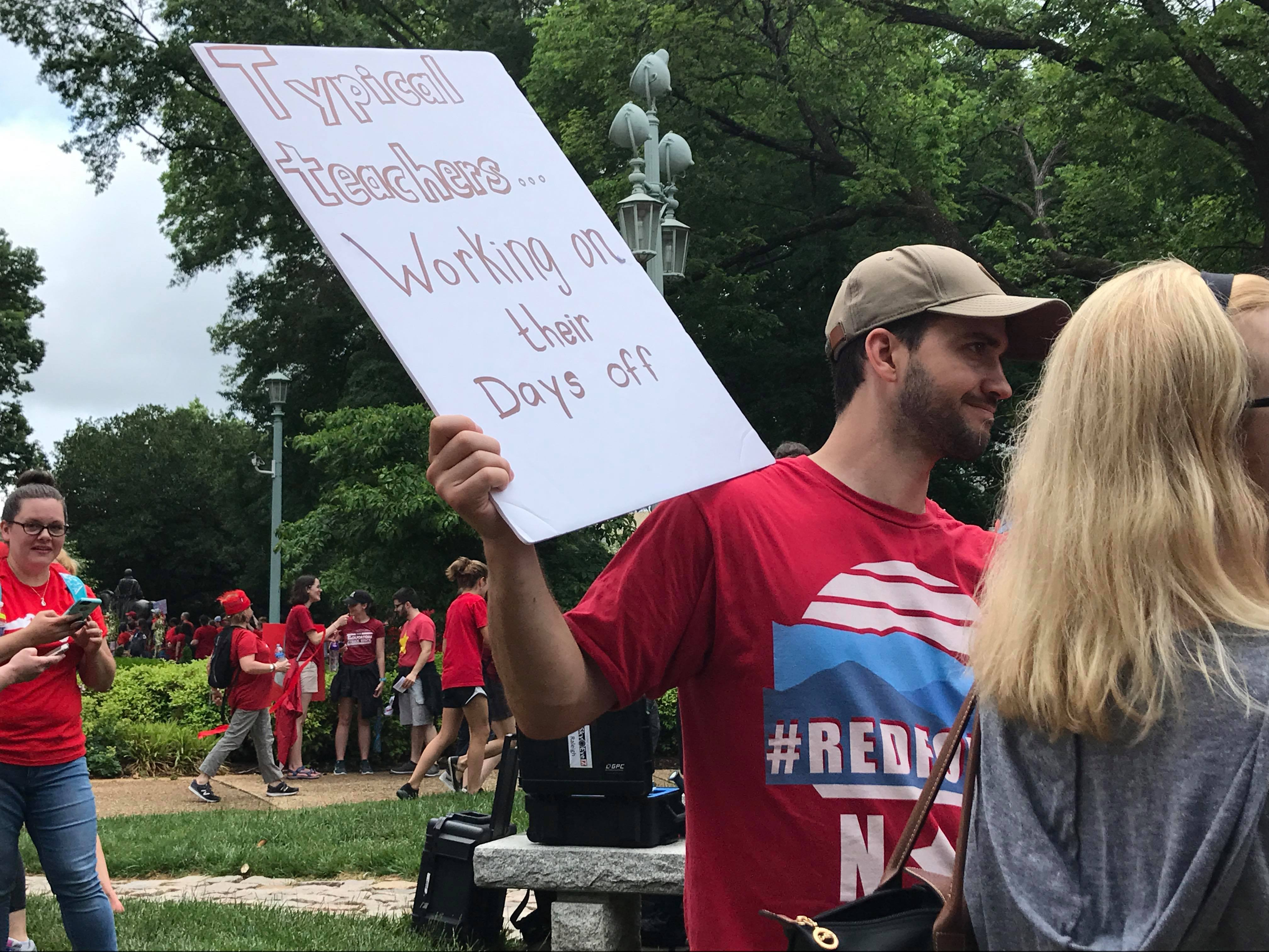 Whether it was students, teachers or other rally-goers, nearly everyone was carrying a sign at Wednesday's rally in Raleigh. (Photo: WCTI)