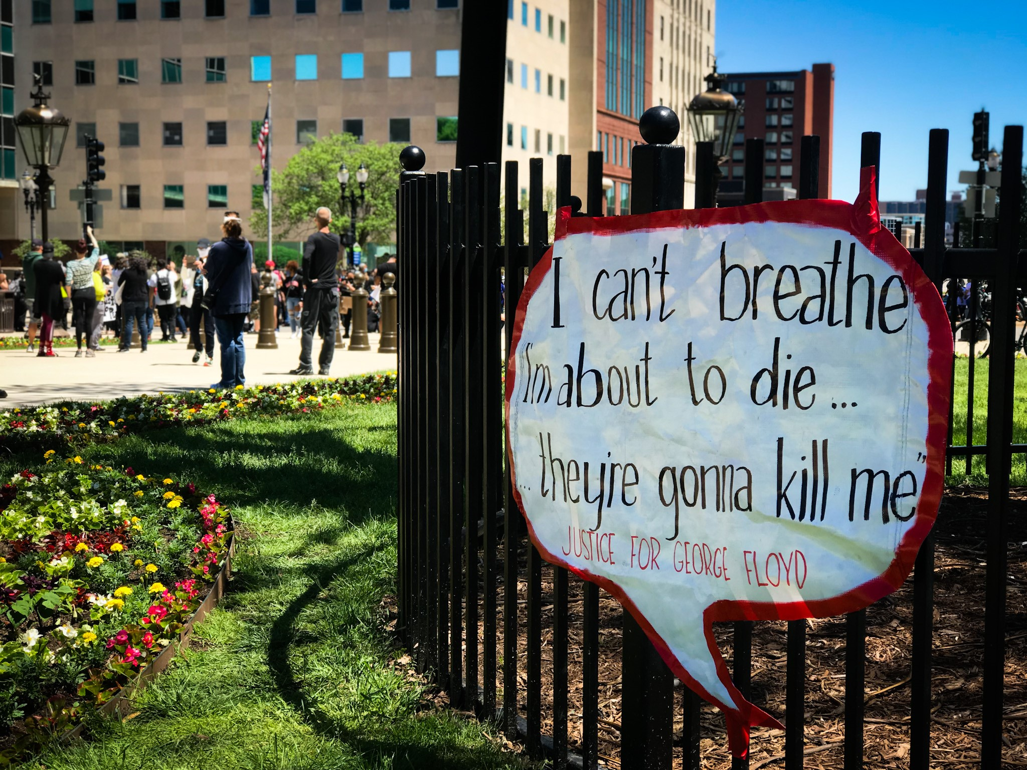 On Sunday, May 31, 2020 people gathered in Lansing to protest the death of George Floyd. What started as a peaceful demonstration turned destructive as the night went on. (WWMT/Mikenzie Frost)