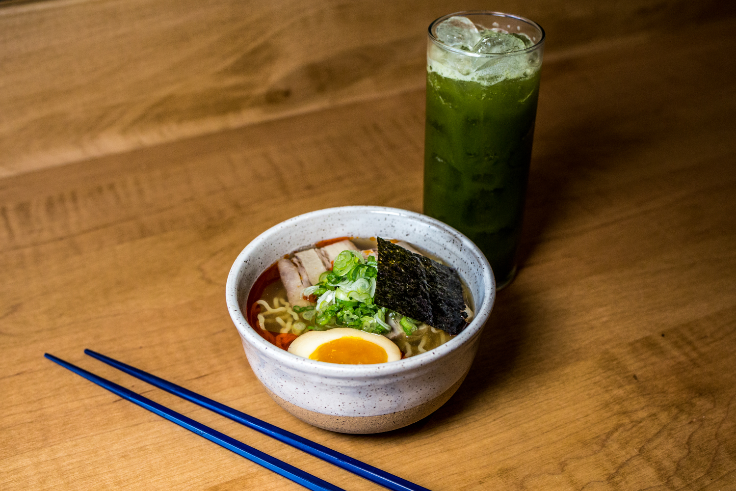 Shio Ramen: chicken broth, pork belly, negi, tea-marinated egg, and rayu / Image: Catherine Viox // Published: 10.21.19