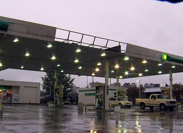 A BP Gas Station in Bessemer sustained some minor storm damage to its canopy on Thursday, April 11, 2013.
