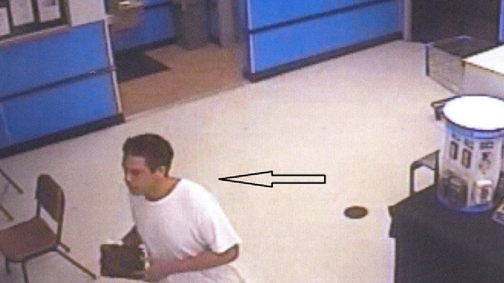 This surveillance image released by the Oshkosh Police Dept. shows the suspect in a July 22, 2014 theft from Walmart.