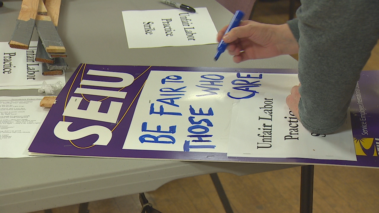 Nurses and caregivers hit the picket line early Wednesday at the start of a planned three-day strike against Providence Home Health Care and Hospice of Snohomish County. (Photo: KOMO News)