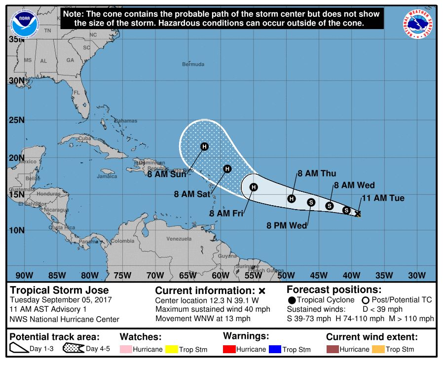 Tropical Storm Jose forms over the Atlantic Ocean and is gaining strength. (NHC)