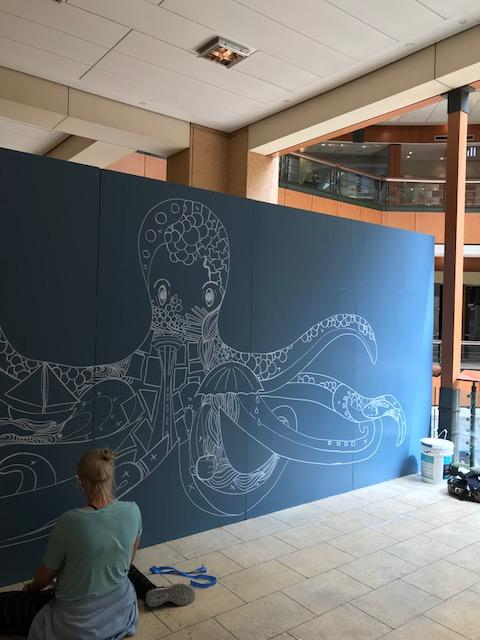 "To kick off the Pacific Place's ""Truth or Daring"" series, the shopping center partnered with renowned international street artist Kelsey Montague, who painted the octopus mural."