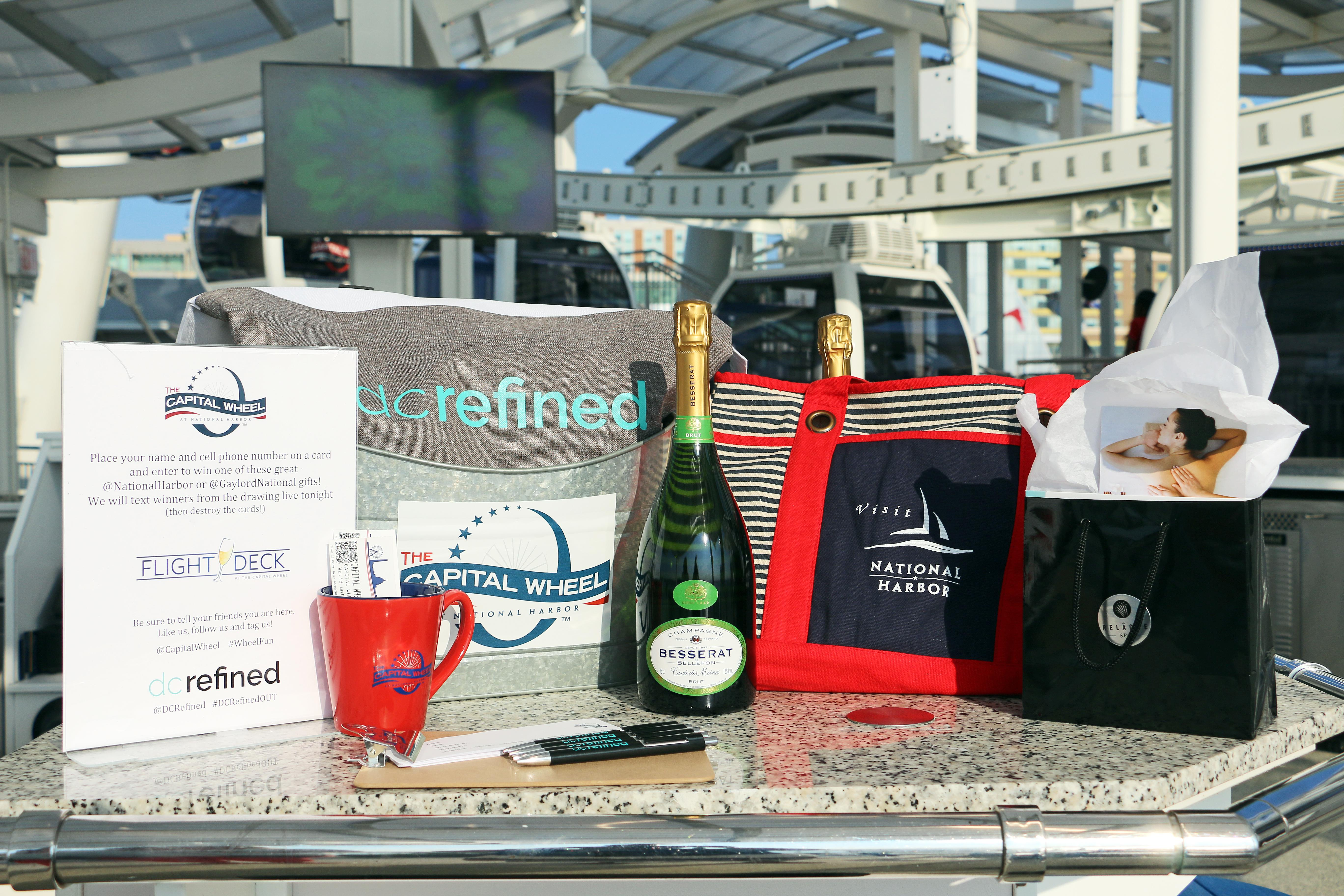 Guests could enter to win tickets to come back to the Capital Wheel, DC Refined tote bags, champagne, a spa package from the Gaylord Hotel or a goodie bag from National Harbor.