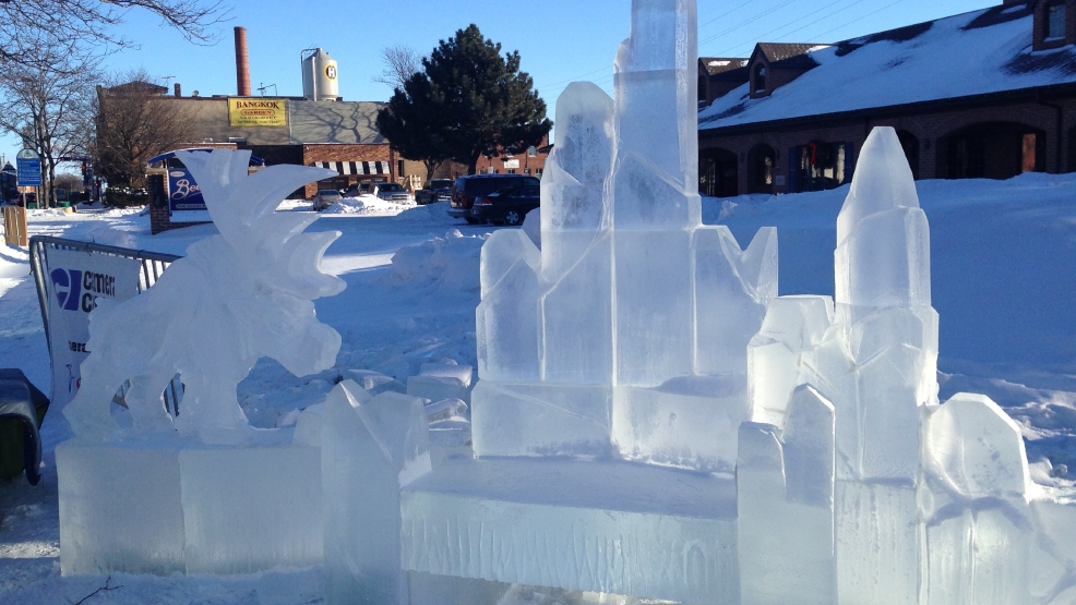 The ice throne for Winterfest on Broadway 2014.