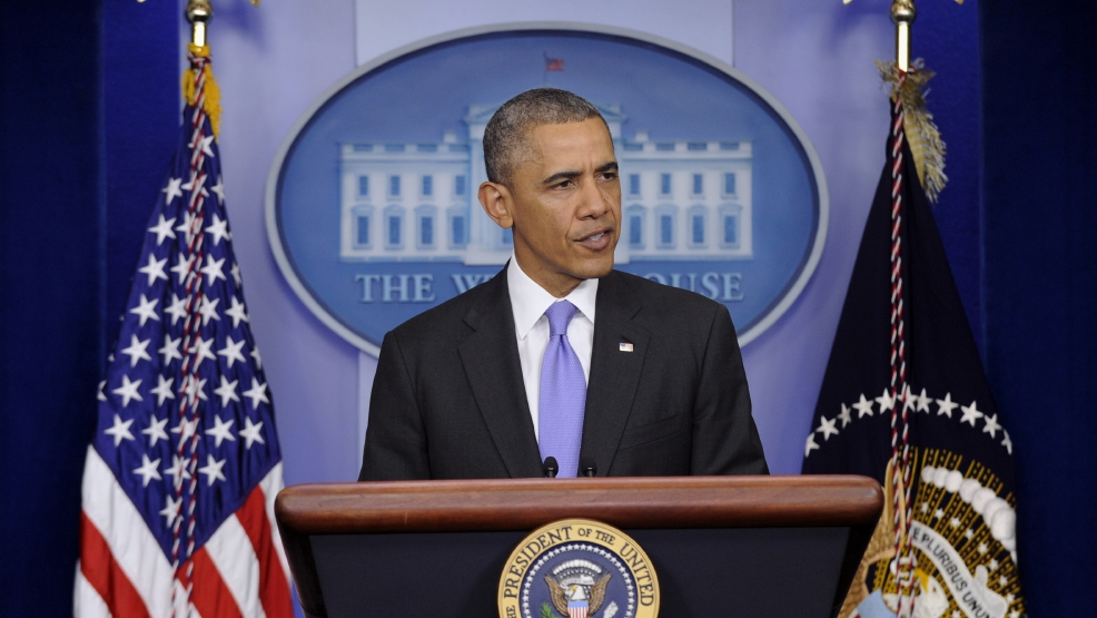 President Barack Obama speaks in the Brady Press Briefing Room of the White House in Washington, Wednesday, May 21, 2014, following his meeting with Veterans Affairs Secretary Eric Shinseki. The White House moved Wednesday to address the growing furor over allegations of misconduct at the Department of Veterans Affairs, summoning VA Secretary Eric Shinseki to an Oval Office meeting, hours before the House was scheduled to vote on a bill that would grant the secretary more authority to fire or demote senior executives. (AP Photo/Susan Walsh)
