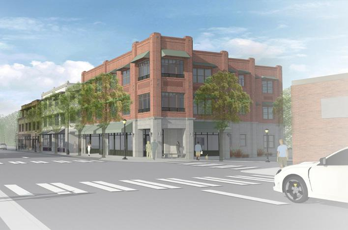 "A photo illustration shows what a three-story building with ""articulation"" might look like on Ashland Street. (Image by city of Ashland)"
