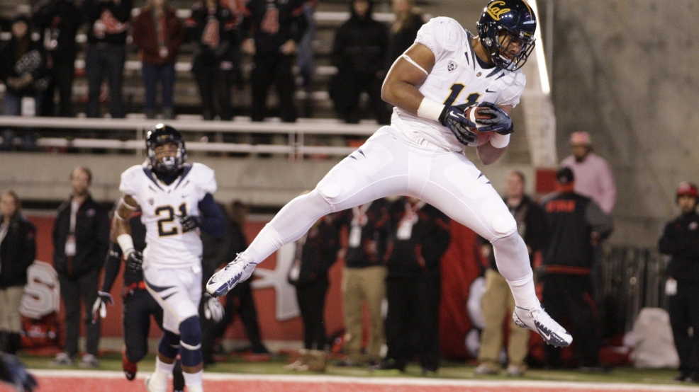 California tight end Richard Rodgers (11) catches a touch down pass in the fourth quarter during an NCAA college football game  with Utah Saturday, Oct. 27, 2012, in Salt Lake City. Utah defeated California  49-27.  (AP Photo/Rick Bowmer)