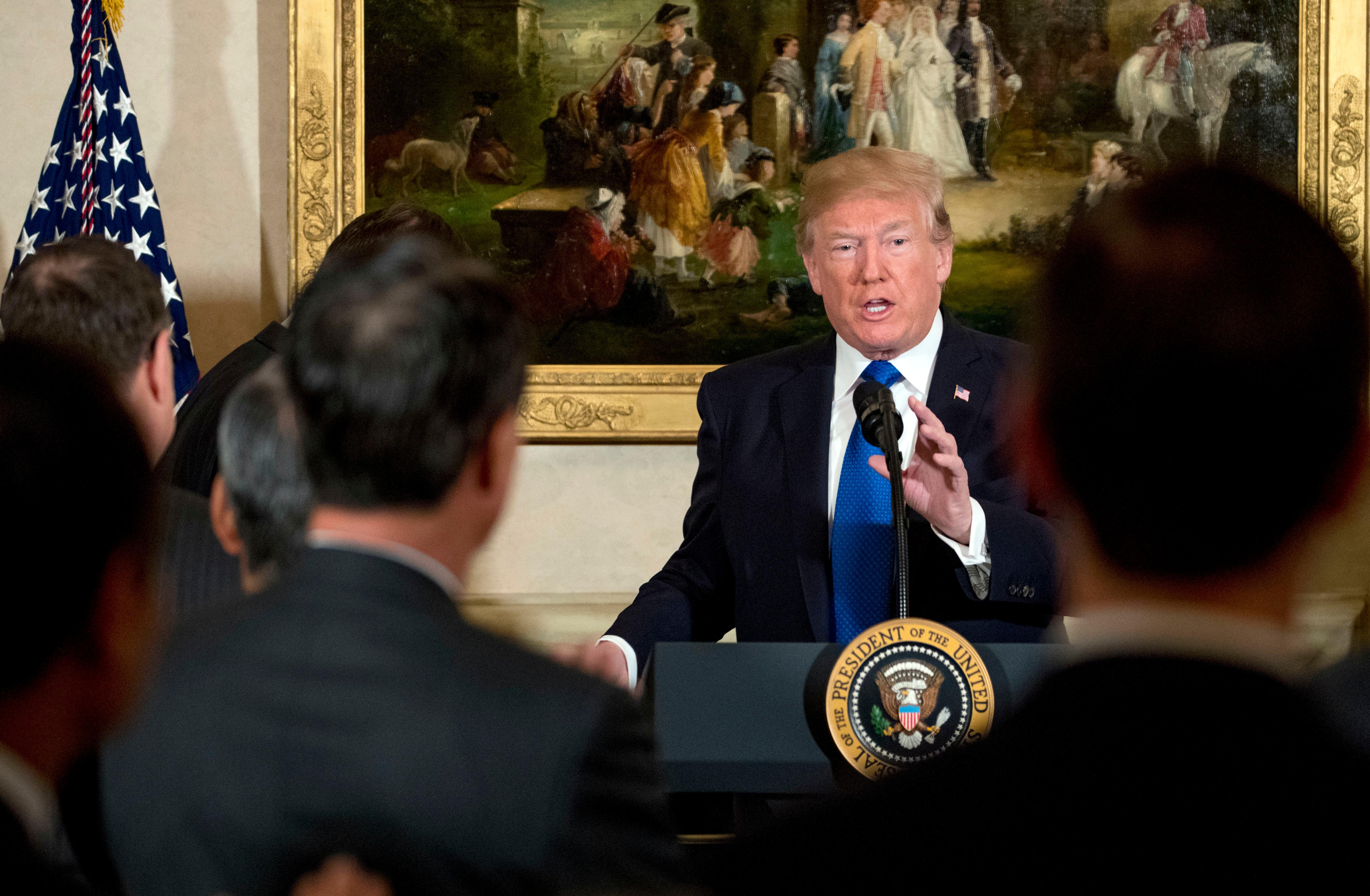 President Donald Trump speaks during a meeting with U.S. and Japanese Business Leaders at the U.S. Ambassador's residence, Monday, Nov. 6, 2017, in Tokyo. Trump is on a five country trip through Asia traveling to Japan, South Korea, China, Vietnam and the Philippines. (AP Photo/Andrew Harnik)