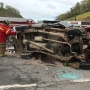 Driver injured, Route 34 shut down temporarily in Putnam County after truck overturns