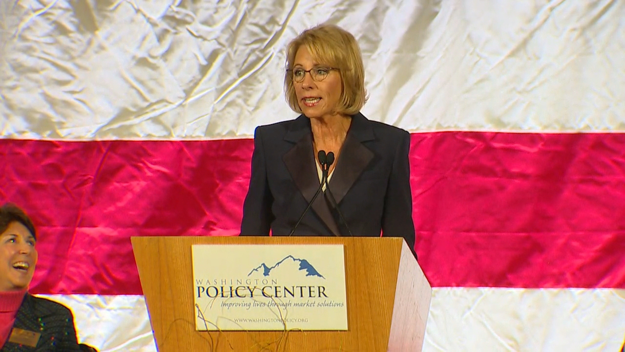 Education Secretary Betsy DeVos speak in Bellevue. (KOMO News)