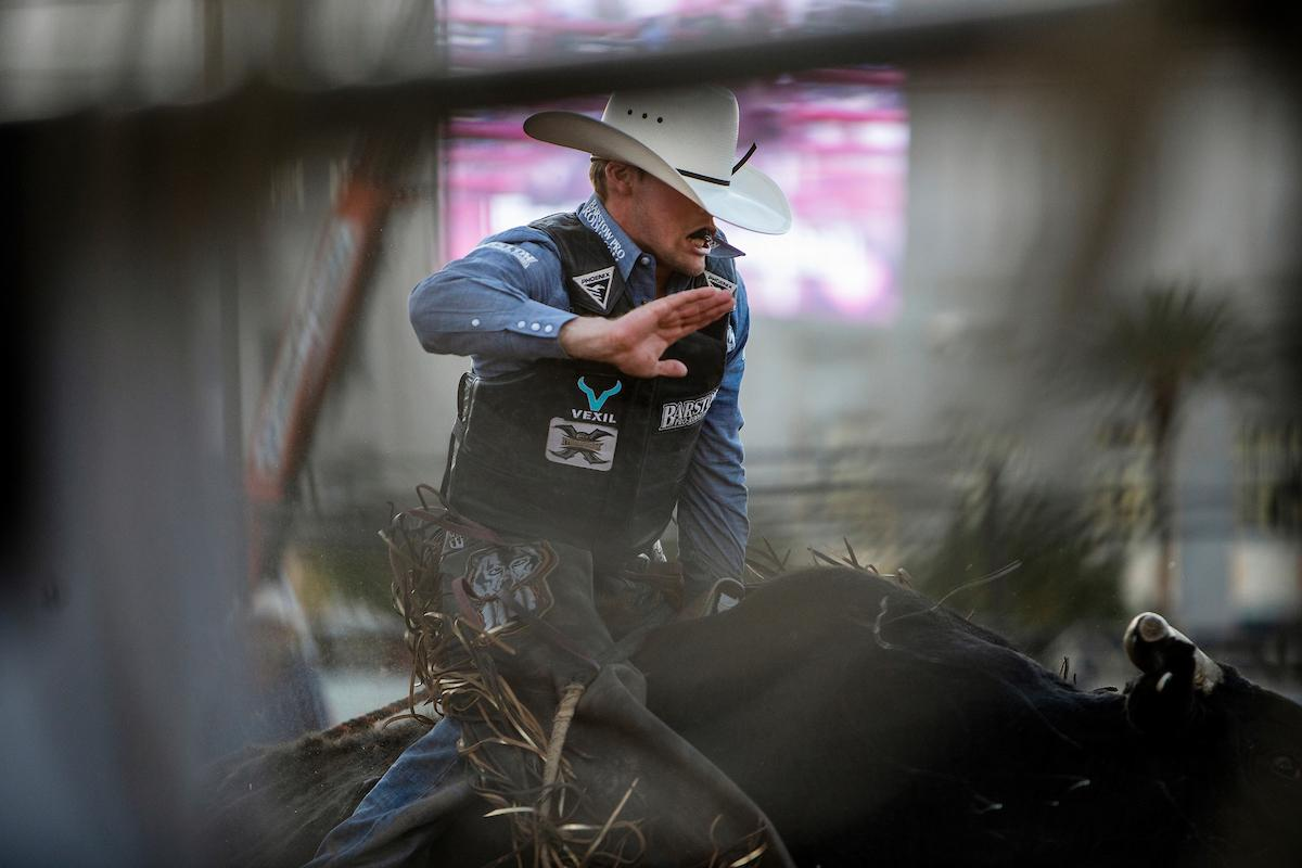 Boudreaux Campbell competes in bull riding during day one of the Las Vegas Days Rodeo at the Plaza Hotel CORE Arena on Friday May 10, 2019. Las Vegas Days, formerly known as Helldorado Days, is an annual cowboy-themed event celebrating Las Vegas? tribute to the Wild West. CREDIT: Joe Buglewicz/Las Vegas News Bureau