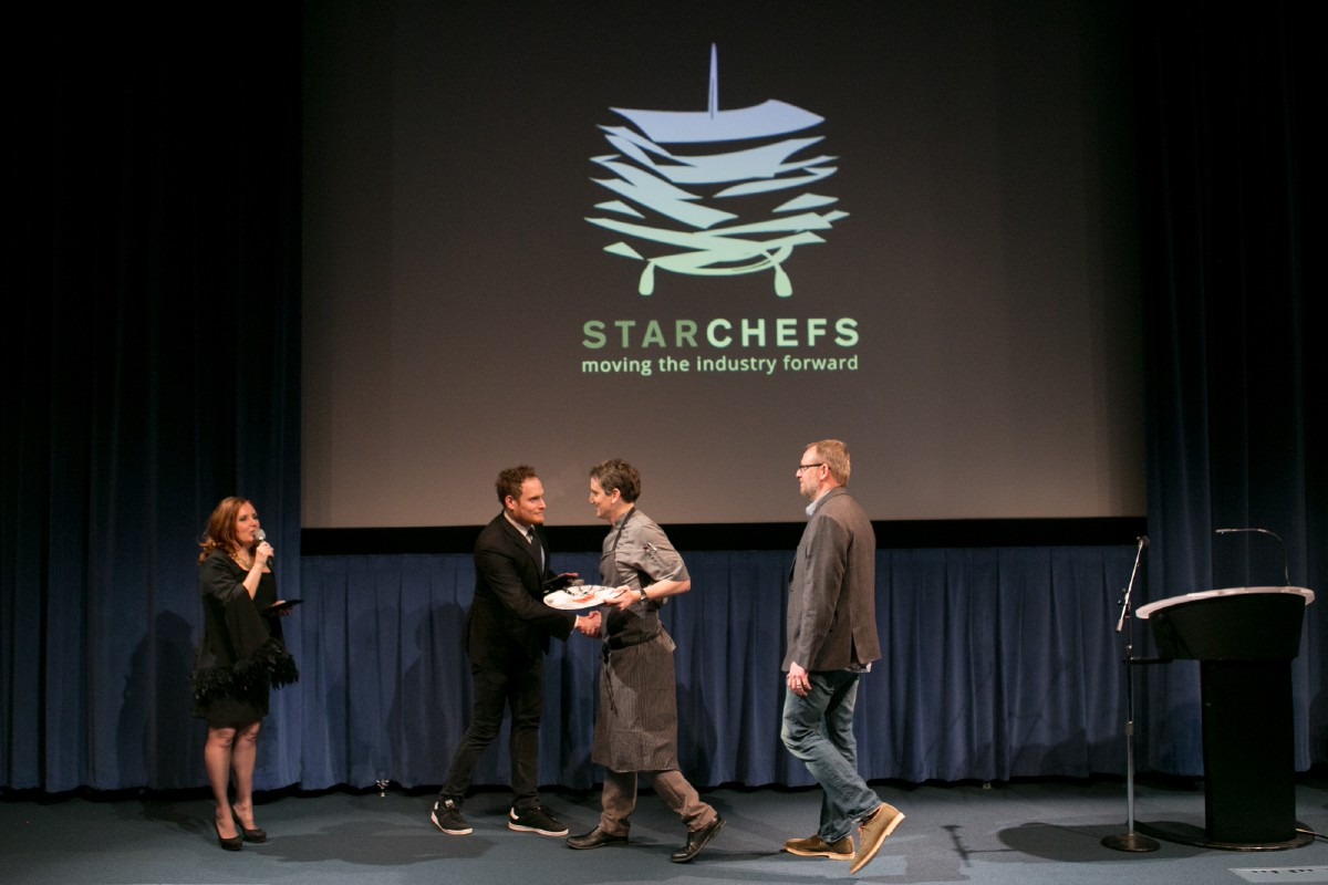 Joe Ritchie of Goldfinch Tavern at the Four Seasons Seattle accepting his Rising Star Hotel Chef with Ethan Stowell, Rising Star Restaurateur of 2009. (Image: Design StarChefs)