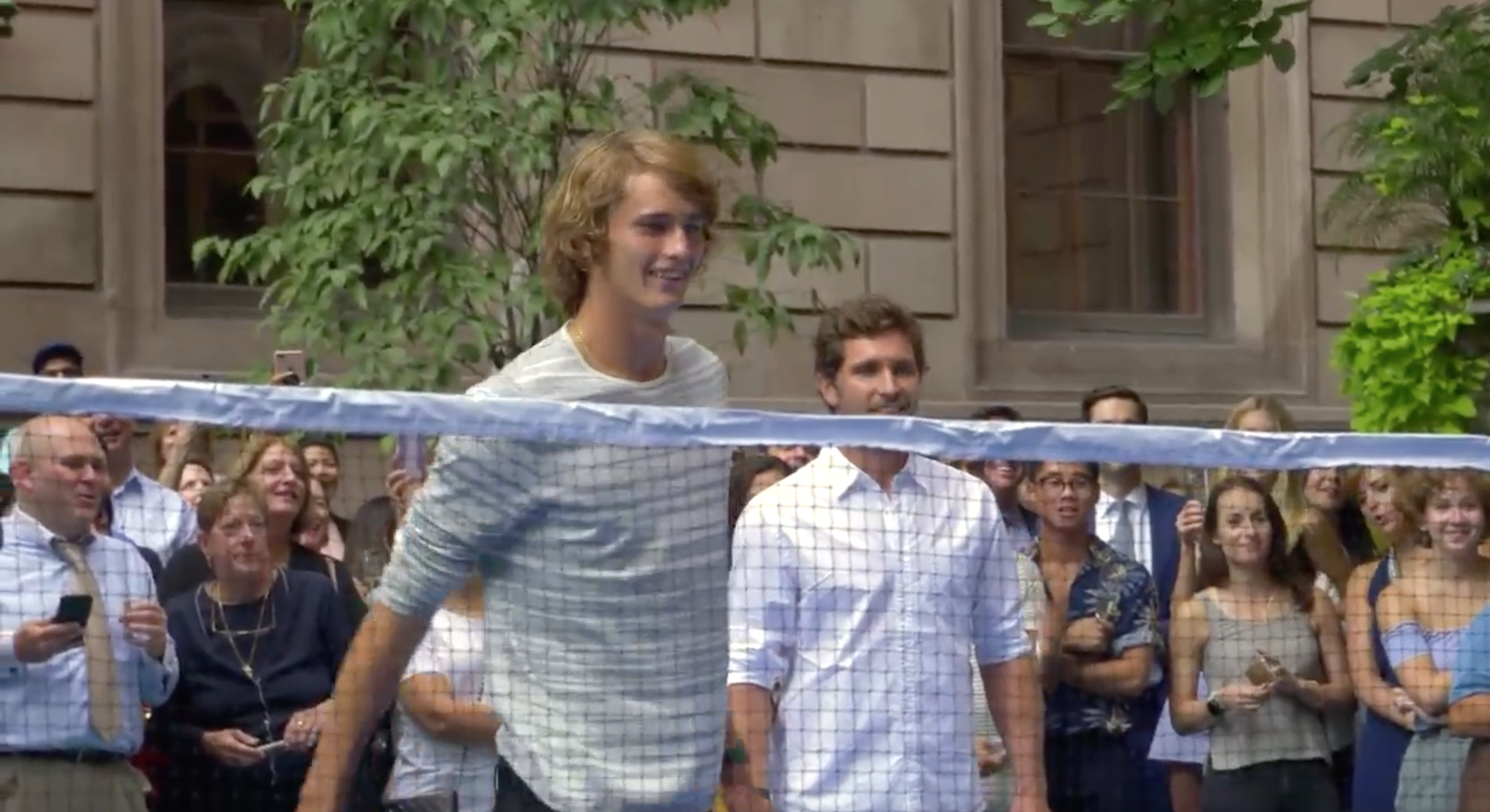 Alexander and Mischa Zverev  at a badminton tournament