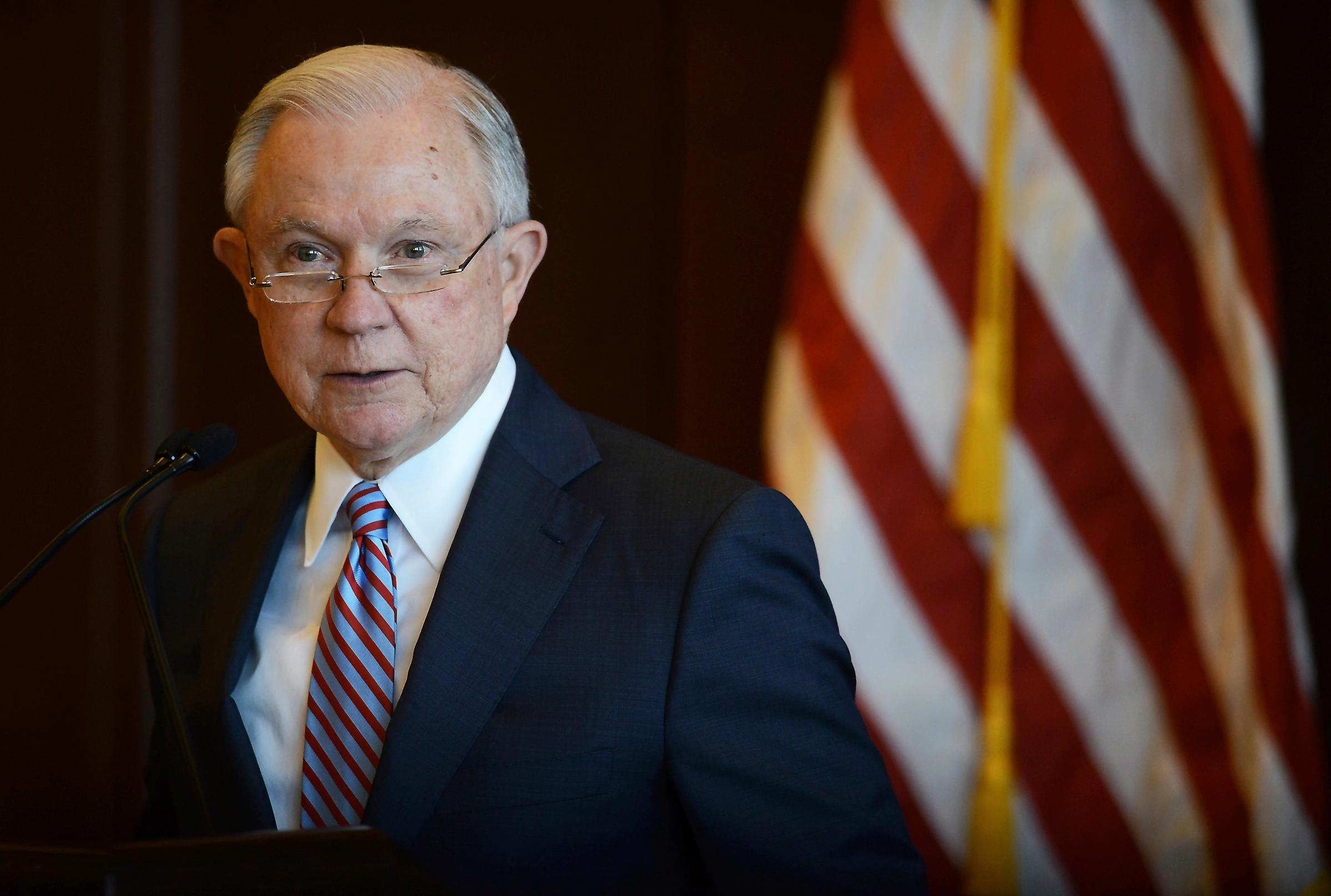 U.S. Attorney General Jeff Sessions speaks on immigration policy and law enforcement actions at Lackawanna College in downtown Scranton, Pa., on Friday, June 15, 2018. (Butch Comegys/The Times-Tribune via AP)