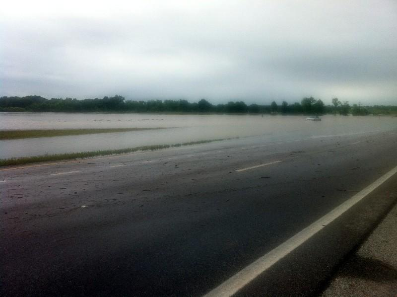 Flash flooding near Highway 21 in Munford, Alabama Saturday, May 18, 2013.