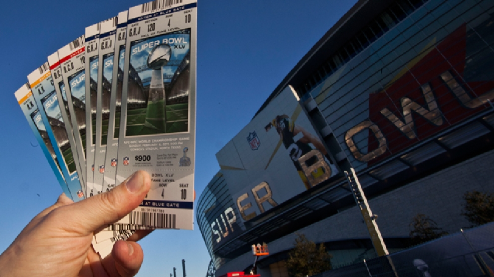 Some NFL football Super Bowl XLV tickets are seen outside Cowboys Stadium Friday, Jan. 28, 2011, in Arlington, Texas. (AP Photo/Morry Gash)