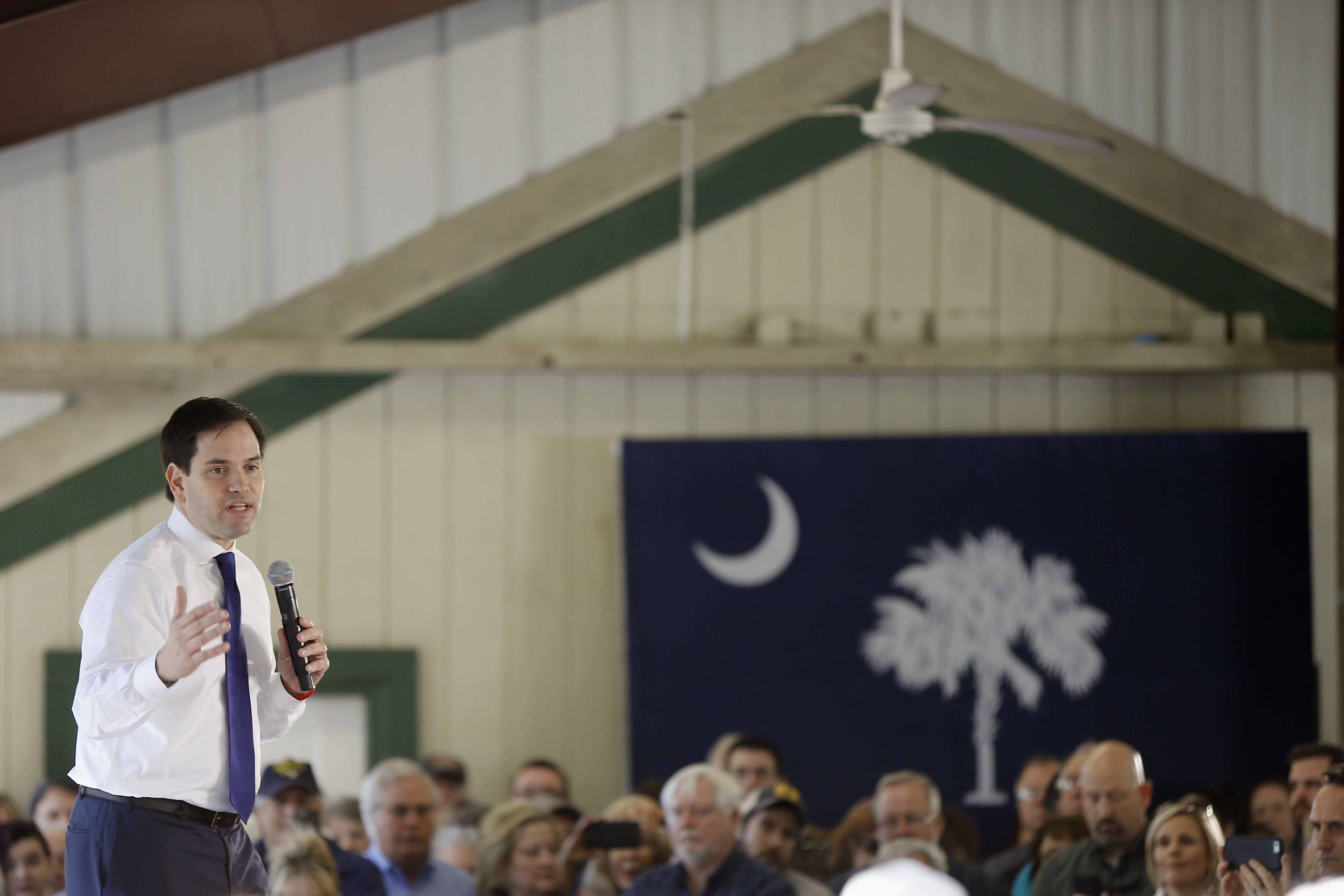 Republican presidential candidate, Sen. Marco Rubio, R-Fla. speaks during a campaign stop, Tuesday, Feb. 16, 2016, in Summerville, S.C. (AP Photo/Matt Rourke)