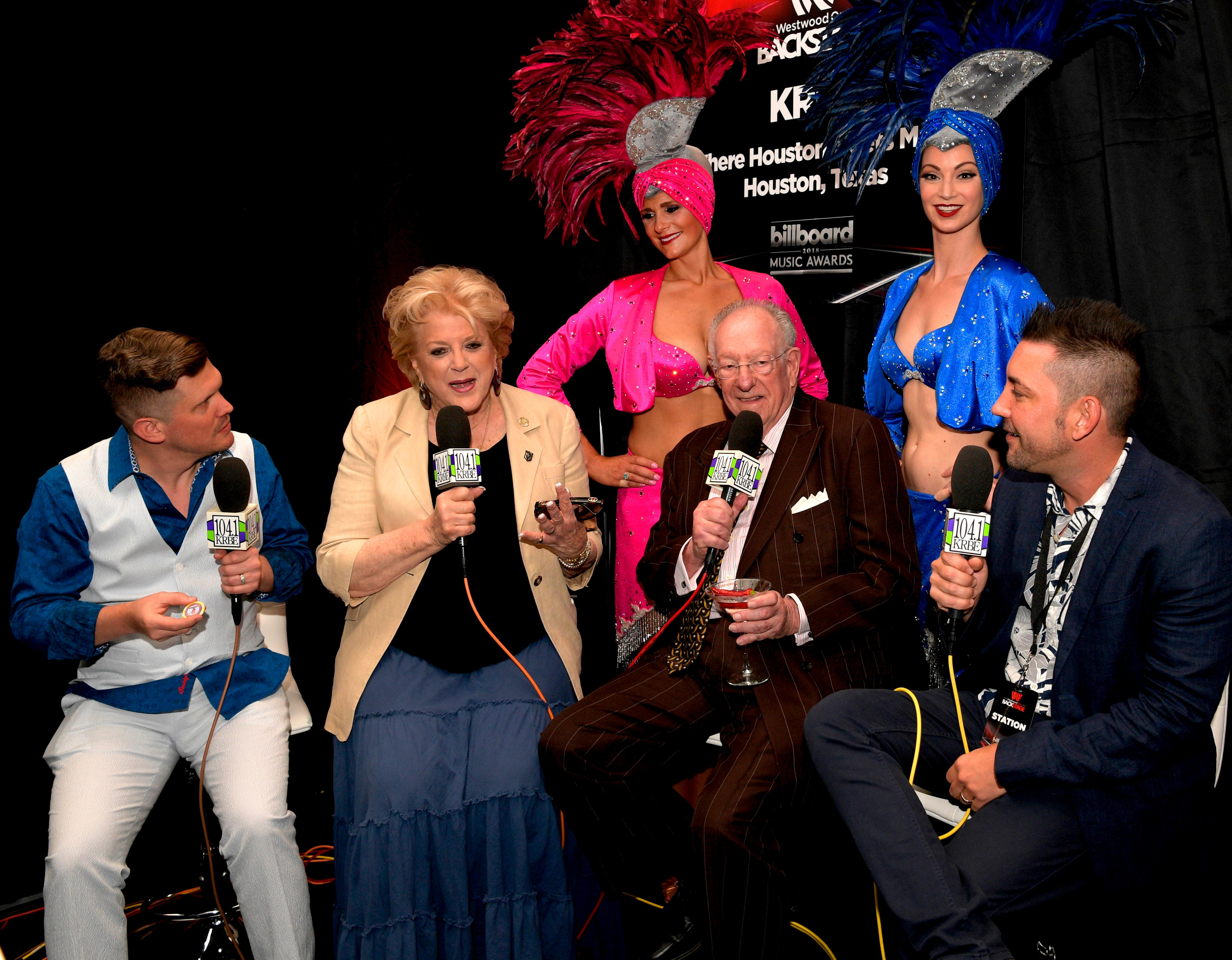Las Vegas Mayor Carolyn G. Goodman and former Las Vegas Mayor Oscar B. Goodman are interviewed by KRBL radio from Houston, Texas at the Billboard Music Awards Radio Row with representatives from across the country at the MGM Grand Hotel & Casino on the Las Vegas Strip. Saturday, May 19, 2018. CREDIT: Glenn Pinkerton/Las Vegas News Bureau