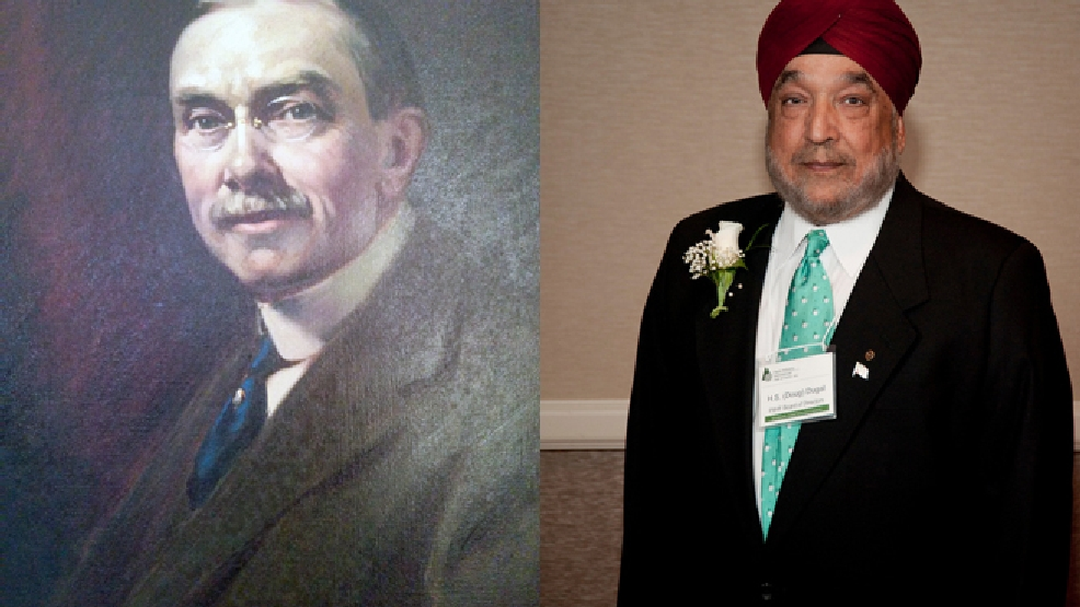 William Gilbert (left) and Hardev (Doug) Dugal (Brehm Family collection and Paper Discovery Center and Paper Industry International Hall of Fame)