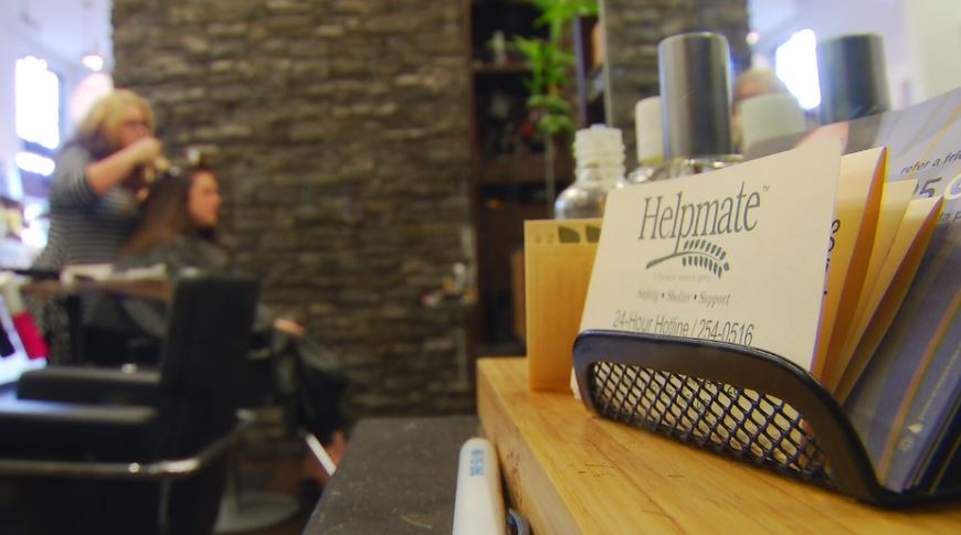 Thanks to a partnership with Helpmate, hairstylists at Aabani Salon are now trained on how to spot the signs of domestic violence. (Photo credit: WLOS staff)
