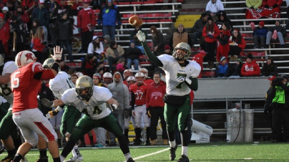 Oshkosh North's Nate Neveau throws a pass during the Division 2 state title game last season. (Doug Ritchay/WLUK)