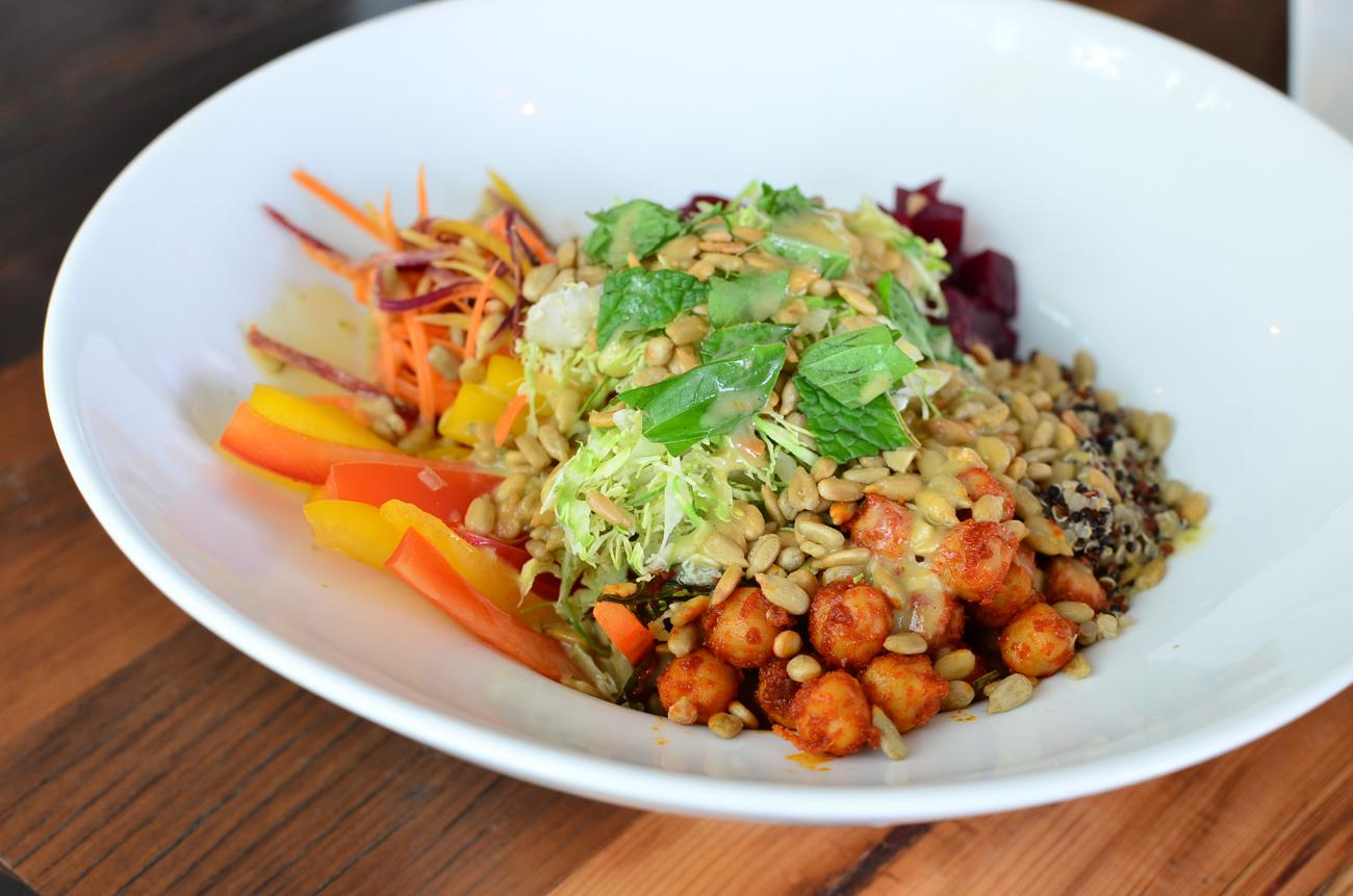 Buddha Bowl: chickpeas, brussels sprouts, beets, red bell peppers, sunflower seeds, carrots, quinoa, lemon vinaigrette / Image: Leah Zipperstein, Cincinnati Refined // Published: 6.19.17