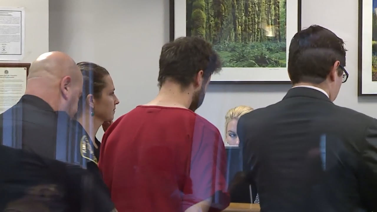 Michael Giordano, 23, pleaded not guilty in court on Wednesday, Jan. 31, 2018. He is accused of torturing and killing Jennifer Ayers on Jan. 15. Seattle police say it appears Ayers, 63, was targeted at randam. (Photo: KOMO News)<p></p>