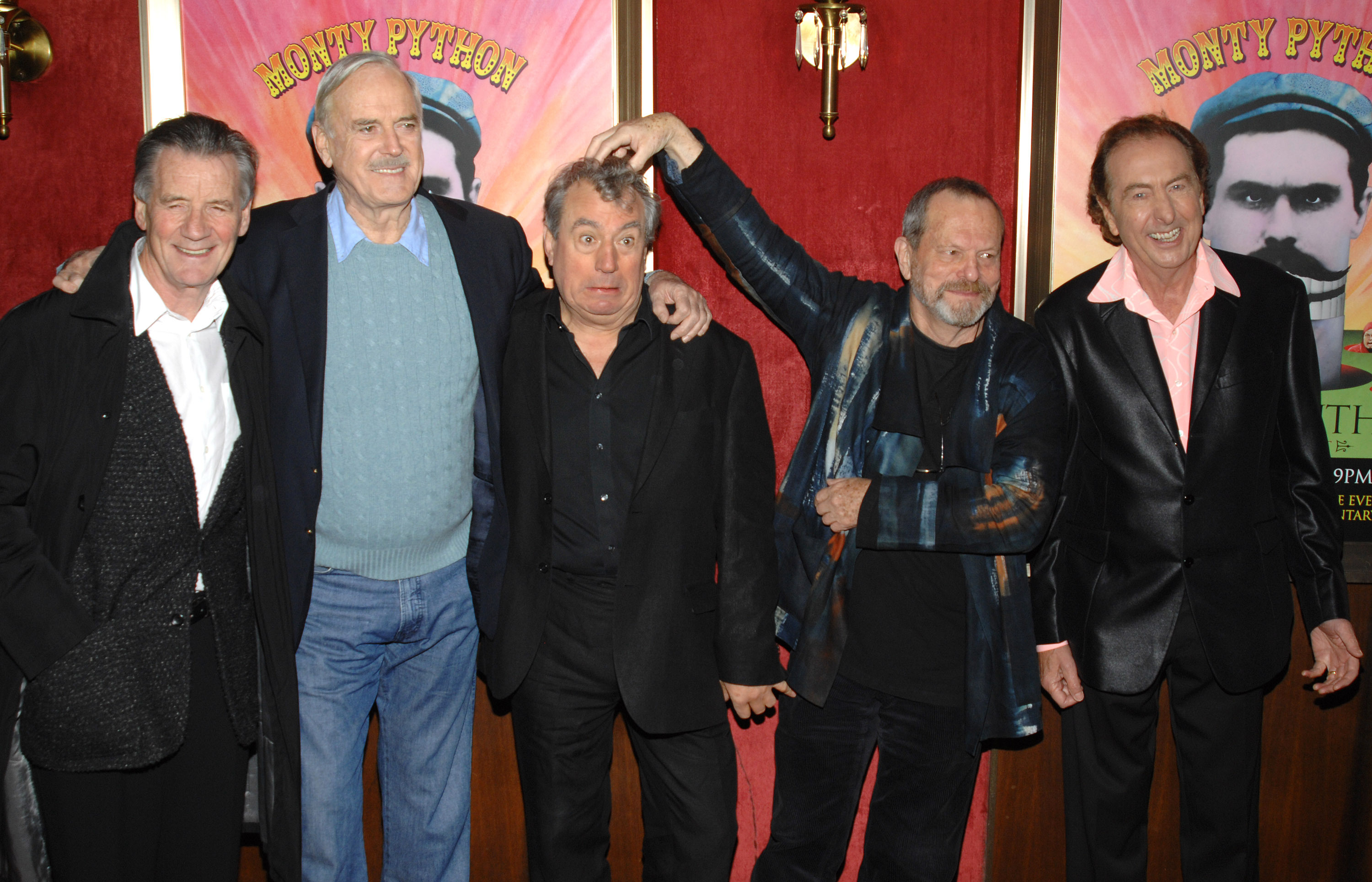 "FILE - In this Thursday, Oct. 15, 2009 file photo from left, actors Michael Palin, John Cleese, Terry Jones, Terry Gilliam and Eric Idle attend the IFC and BAFTA premiere of ""Monty Python: Almost The Truth (The Lawyers Cut)"", in New York. (AP Photo/Peter Kramer, File)"