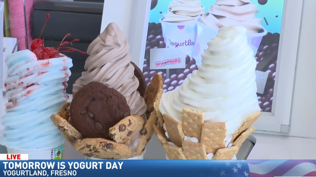 Jim De La Vega spent the morning at Yogurtland at Campus Pointe in Fresno where you can get FREE yogurt with all the toppings on Tuesday.