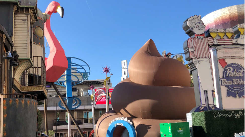 Giant poo appears in downtown Las Vegas, inviting guests to 'let sh** go'