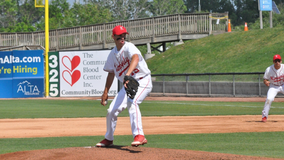 Kimberly's Brice Zwick pitched a three-hiiter over six innings as the Papermakers beat Hartford, 10-0, in six innings in a Division 1 state baseball quarterfinal at Fox Cities Stadium. (Doug Ritchay/WLUK)