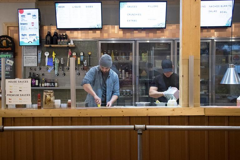 'Roll On In' is a fast-casual restaurant that makes large sushi rolls the size of a standard burrito. Patrons choose from a menu offering a mash-up of Japanese, Mexican, and Greek ingredients as a worker behind the counter builds their order. Bowls with a bed of rice are available as an alternative to the sushi burrito. It has locations in both Clifton and Lebanon. These photos are from the Lebanon location. ADDRESSES: 44 E. Mulberry St. (45069) / Image: Allison McAdams // Published: 2.11.18