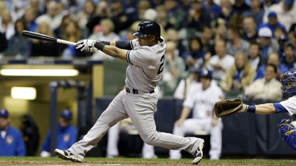 New York Yankees' Yangervis Solarte hits a three-run home run against the Milwaukee Brewers in the fourth inning of a baseball game Friday, May 9, 2014, in Milwaukee. (AP Photo/Jeffrey Phelps)