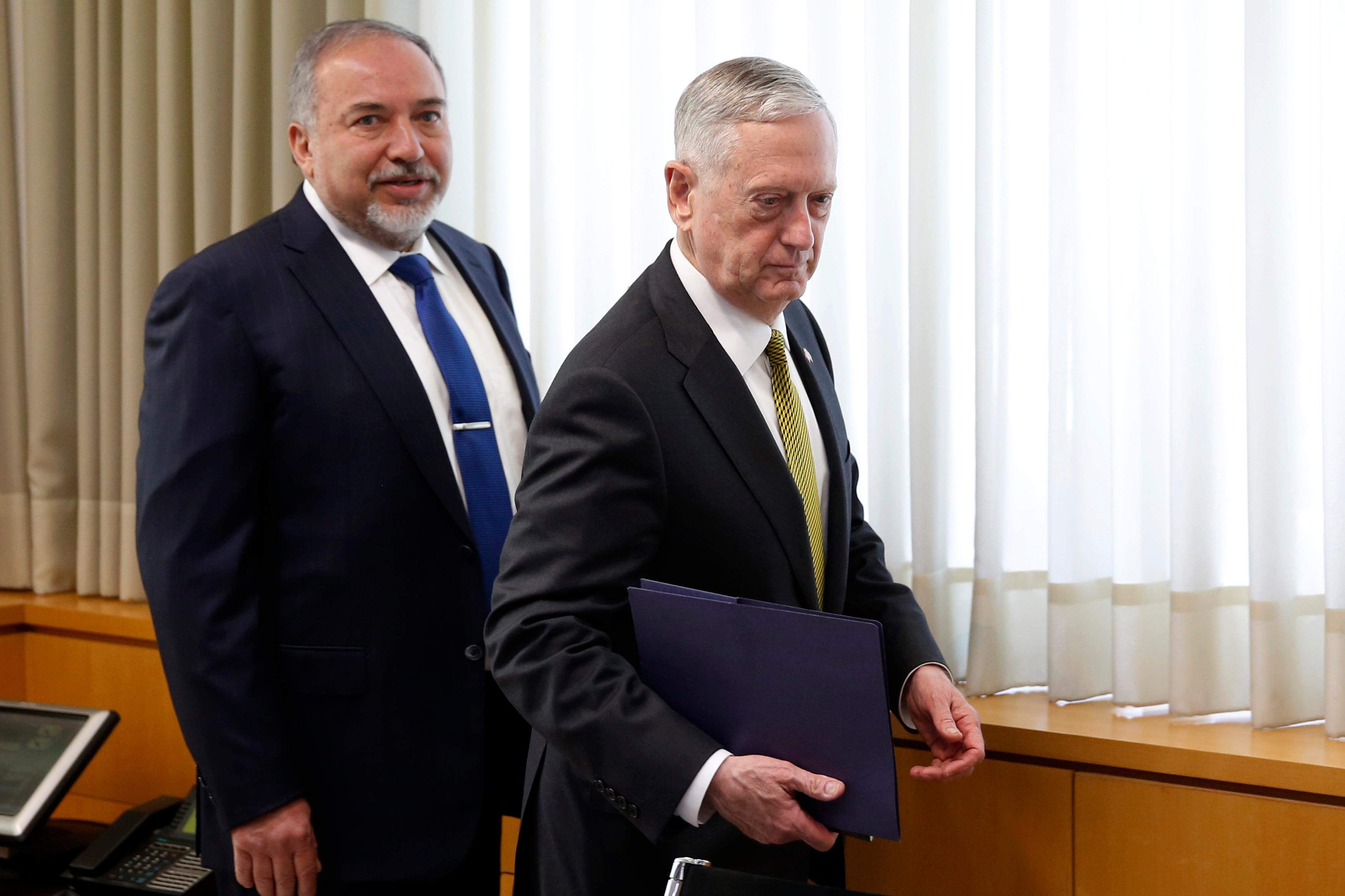 Israeli Defense Minister Avigdor Lieberman, left, and U.S. Defense Secretary Jim Mattis takes seats for a meeting at the Defense Ministry in Tel Aviv, Israel, Friday, April 21, 2017. (Jonathan Ernst/Pool Photo via AP)
